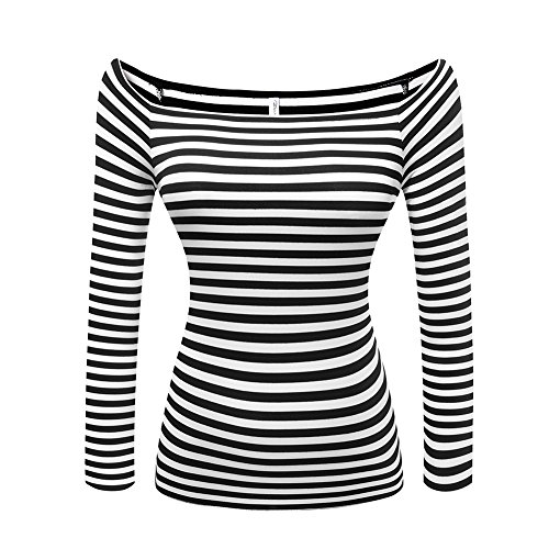 Women's Short Sleeve Vogue Fitted Off Shoulder Modal Blouse Top T-Shirt (X-Large, Long Sleeve-Stripe) -