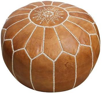 Comercio Justo Grande Puf Con Reposapiés de cuero rojo hecho a mano de Marrakech Marruecos