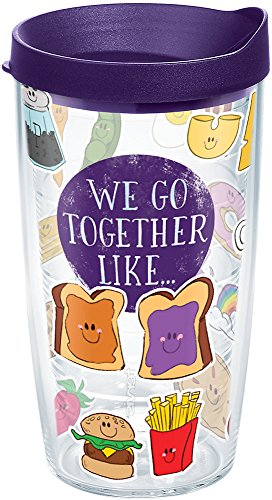 Tervis 1248535 We Go Together Like Tumbler with Wrap and Royal Purple Lid 16oz, Clear -