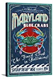 Baltimore, Maryland - Blue Crabs Vintage Sign (12x18 Gallery Wrapped Stretched Canvas)