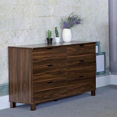 Smart home Y1504 Dark Walnut 6-Drawer Dresser - 1 x Smart Home 6-Drawer Dresser Finished All Around in Dark Walnut 6 Pull Out Drawers on Metal Glides - dressers-bedroom-furniture, bedroom-furniture, bedroom - 51EKyfnbhML. SS400  -