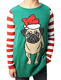 "Ugly Christmas Sweater Funny Teen Boy's Dog""Pug Life"" Sweater-Large"