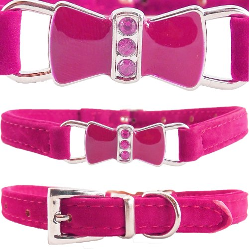 wwwsuppliers-adjustable-hot-pink-pu-suede-leather-glossy-bling-bow-dog-puppy-or-cat-collar-medium-11