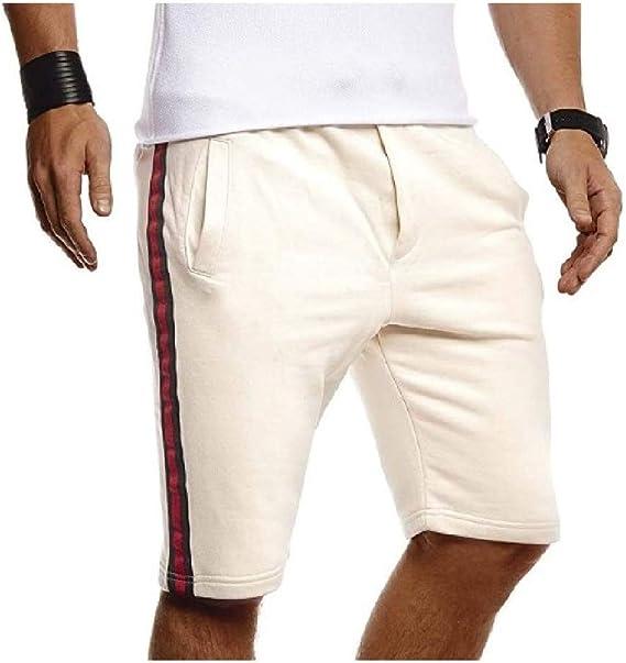 EnergyWD 男性100%コットンソリッドポケット伸縮性ファブリックランニングジョガージムショートパンツ