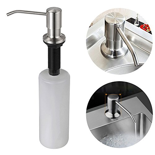 YHXK Upgraded Liquid Soap Dispenser with Stainless Steel Pump Large 17 OZ Bottle 3.15in Threaded Tube for Thick Deck Installation for Home Kitchen Sink Bathroom Countertop Hotel Desk Mount
