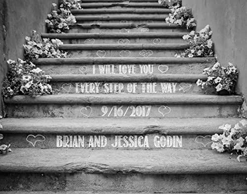 """Personalized Wedding Gift -""""I Will Love You Every Step Of The Way"""" - Makes a Great Gift Under $30 for the Bride and Groom or Anniversary - Customized Print Includes Names and the Special Date"""