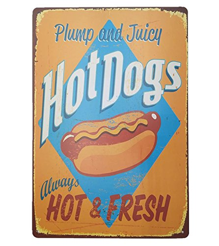 UNiQ Designs Metal Tin Signs - Plump and Juicy Hot Dogs Food Sign - Hot Dog Decorations Metal Food Signs Hotdog Sign -Vintage Poster Food Tin Food Signs - Hot Dog Tin Signs Vintage Funny-Pub Sign 12x8