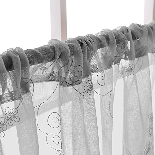 Grey Sheer Tiers Kitchen Floral Embroidered Semi Kitchen Tier Curtains Valance Set 24 inch Embroidery for Bathroom Rod Pocket,Gray