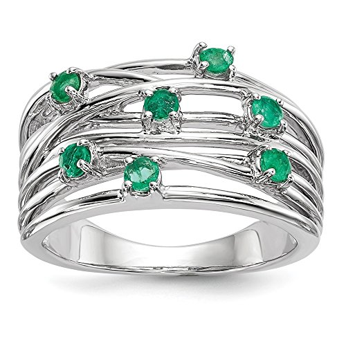 14k White Gold Emerald Ring by JewelryWeb