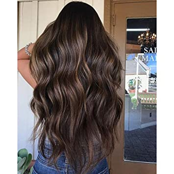 Ugeat Seamless Hair Extensions 24 Inch Tape In Hair Balayage Dark Brown With Caramel Blonde Real