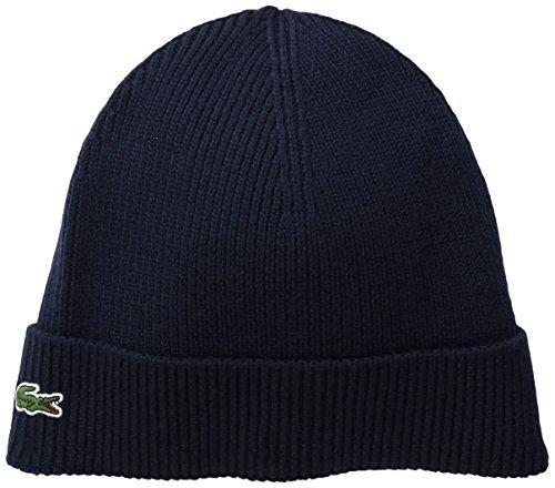 Lacoste Men's Rib Wool Beanie, Navy Blue, One - Lacoste Hats Beanie