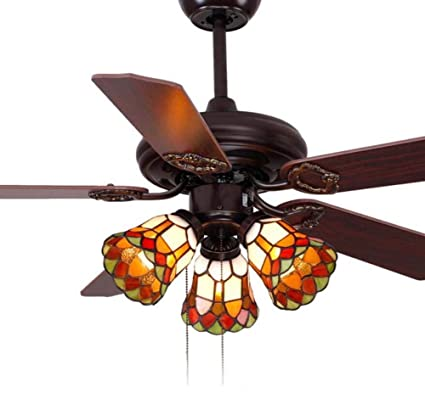 42-inch Ceiling Fan Tiffany Style Stained Glass Shade ...
