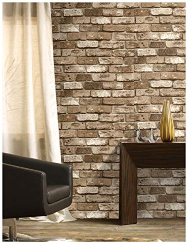HaokHome 69091 Vinyl Retro Vintage Faux Brick Wallpaper Lt.Brown for Home Kitchen Realistic Wall Decoration Wall Paper 20.8