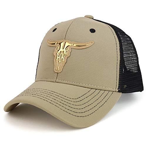 Trendy Apparel Shop High Frequency Western OX Skull Structured Trucker Mesh Cap - Khaki Gold