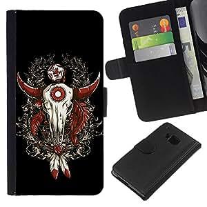 BearCase / Cuero de la tarjeta la carpeta del tirón Smartphone Slots Protección Holder /// HTC One M7 /// Enfriar Buffalo occidental Skull Dreamcatcher