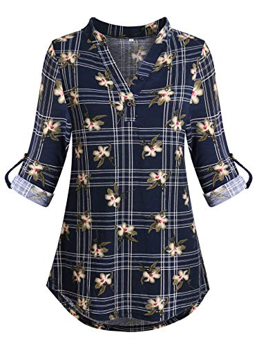 (ZKHOECR Tunic Tops for Leggings for Women Cotton Casual Clothings Ladies Pullover V Collar Rolled Up Sleeve Regular Fit Chic Blouse Floral Printing Henley Shirts Dark Blue XL)