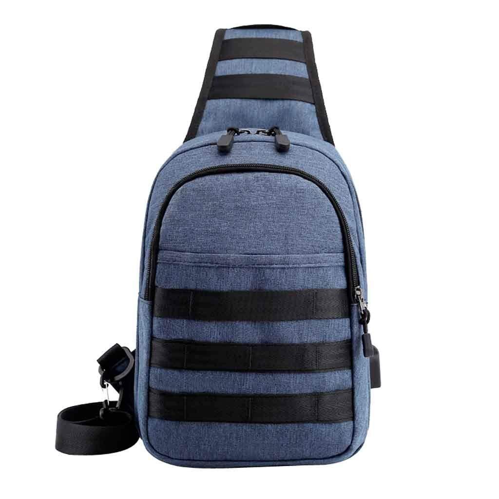 Men Anti-Theft USB Bag Chest Bag Oxford Cloth Outdoor Shoulder Bag Messenger Bag