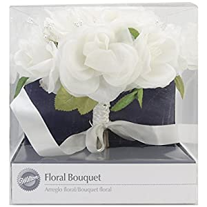"Wilton White French Rose Wedding Flower Bouquet, 8.6"" W x 8.6"" L x 9.3"" H 72"