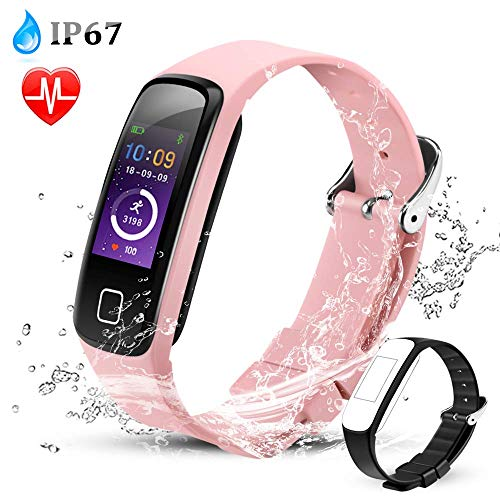 AGPTEK Color Screen Fitness Tracker, Smart Wristband with Sport Band Heart Rate Sleep Monitor Blood Pressure Pedometer Calorie Counter Notifications for iOS Android Smartphones, Rose Gold ()