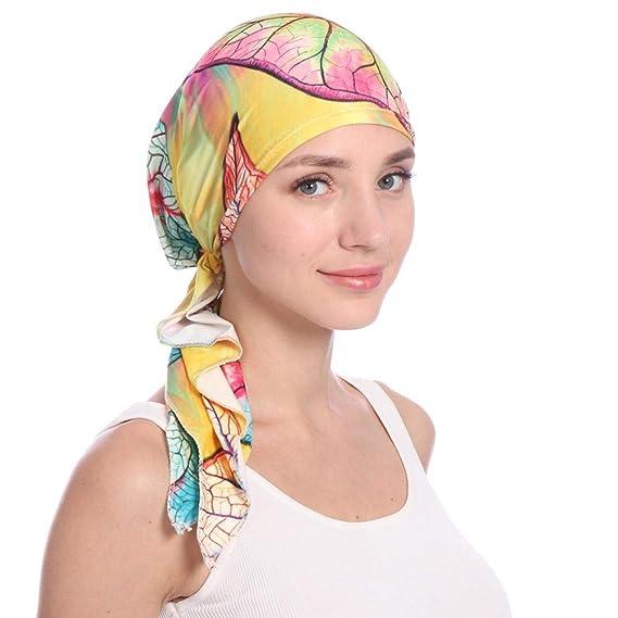 Elegante turbante femenino, gorro de la mujer quimioterapia Cap Beanie gorro de dormir multi-funcional turbante elástico para la pérdida de cabello quimio ...