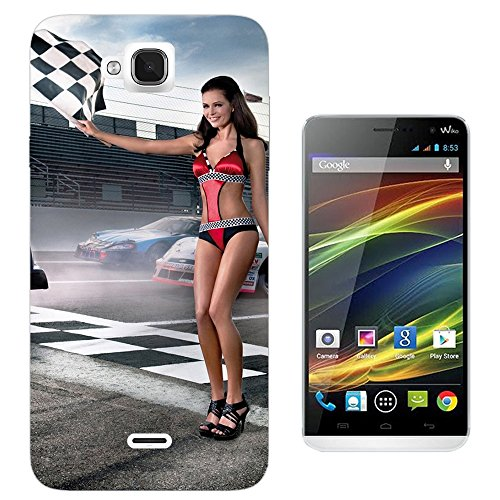 002817 - Sexy Race Girl Finish Flag F1 Nascar Bikini Design Wiko Slide Fashion Trend CASE Gel Rubber Silicone All Edges Protection Case Cover