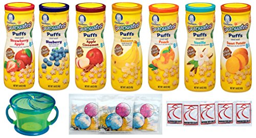 Gerber Graduates PUFFS Cereal Snack Variety Pack + Snack Catcher; Disposable Bibs; Hand Wipes. All 7 Flavors 1.48oz