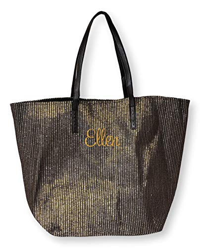 SONA G DESIGNS Black with Metallic Gold Lightweight Tote Bag - Custom Embroidery Personalization Available (Black with Embroidered Name)