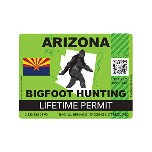 fagraphix Arizona Bigfoot Hunting Permit Sticker Die Cut Decal Sasquatch Lifetime FA Vinyl - 4.00 Wide