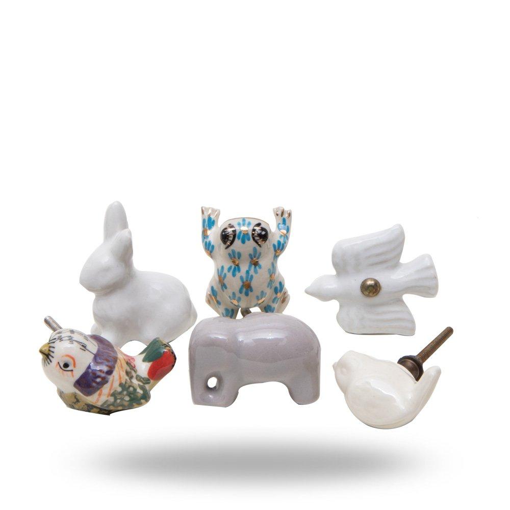 Set of 6 Animal Power Ceramic Knobs by Trinca-Ferro