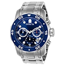 """Invicta Men's 0070 """"Pro Diver Collection"""" Stainless Steel and Blue Dial Watch"""