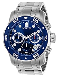 "Invicta Men's 0070 ""Pro Diver Collection"" Stainless Steel and Blue Dial Watch"