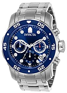 Invicta Pro Diver - Reloj análogico de cuarzo con correa de acero inoxidable para hombre, color plateado/azul