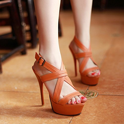 COOLCEPT Mujer Moda sin Cordones Sandalias Tacon de Aguja Hueco Peep Toe Plataforma Slingback Zapatos Naranja