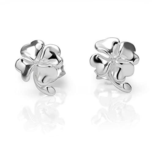 e5464e328 Image Unavailable. Image not available for. Color: 925 Sterling Silver  Irish Four (4) Leaf Clover 11 mm Post Stud Earrings