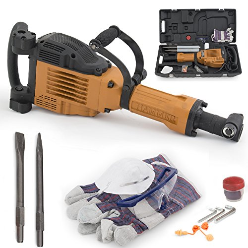 ARKSEN 3600W Electric Demolition Jack Hammer Heavy Duty Concrete Breaker Punch Bit w/Chisel + Carrying Case Hand Glove ()