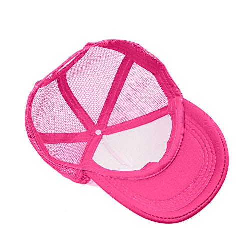 Opromo Kids Two Tone Mesh Curved Bill Trucker Cap, Adjustable Snapback, 14 Colors-Hot Pink/White-1 Pieces by Opromo (Image #4)