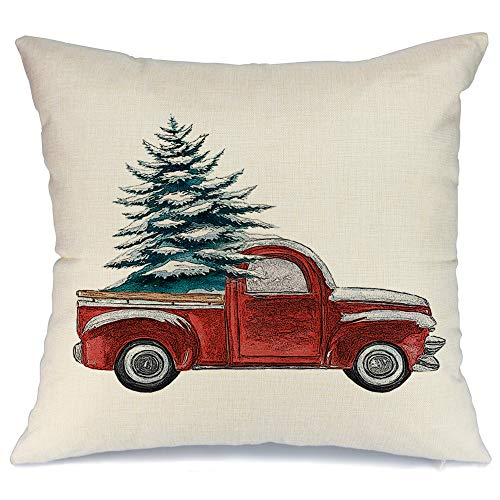 AENEY Christmas Pillow Cover 18x18 for Couch Red Truck and Christmas Tree with Snow Throw Pillow Farmhouse Decorations Home Decor Xmas Decorative Pillowcase Faux Linen Cushion Case Sofa