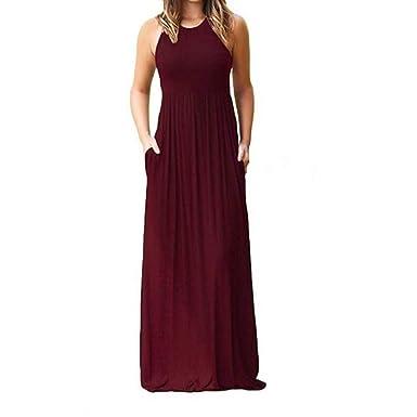 0e503eea9b Hurber Women's Sleeveless Racerback Big Pendulum Loose Plain Maxi Dresses  Casual Long Dresses with Pockets at Amazon Women's Clothing store: