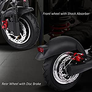 Ancheer E200 Electric Scooter Adult with Retractable Seat, Front Suspencion 10 inch Wheels- Foldable Escooter for Women/Men Commuting with Strong Motor 20Mph,Extra Wide Deck Max Load 330Lbs(Black)