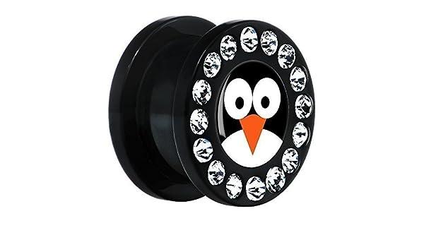 BodyCandy Acrílico Negro Pingüino Cara Dilatador Ajuste Rosca Par 9/16