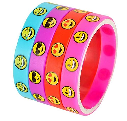 Rhode Island Novelty Emoji Smile Emoticon Silicone Wristband Bracelets | Pack of 36 ()