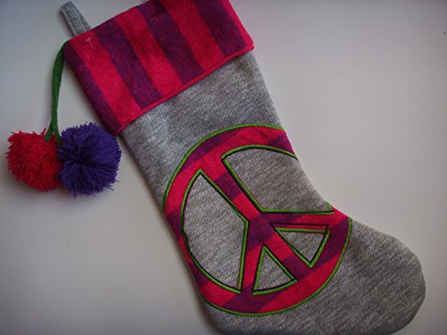 Peace Symbol Christmas Stocking Fleece 20