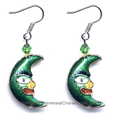 Chinese Apparel / Chinese Jewelry - Chinese Cloisonne Earrings - Moon (Pair)