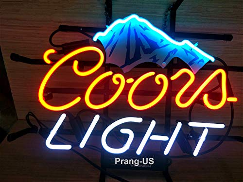 Replacement Tube Neon - Prang-US Coors Light Snow Mountain Neon Signs 17×14 inch, Real Neon Signs Made with Glass Tubes, Brilliant Neon Open Sign. Eye-catching Neon Beer Sign.