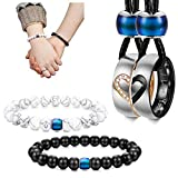 LOYALLOOK 4Pcs Couples Distance Necklace Bracelets Set for Women Men Heart Matching Rings Pendant 8mm Mood Beads Bracelets for Lovers Valentine Gifts