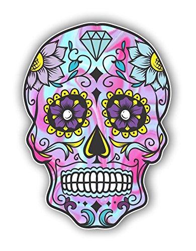 Pink Skull Graphics - Vinyl Junkie Graphics Sugar Skull Sticker Dia de Los Muertos Decal Mexican Day of The Dead Stickers for Notebook car Truck Laptop Many Color Options (Light Blue Pink)