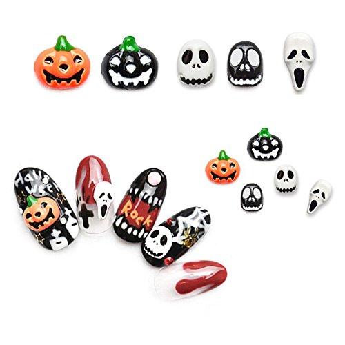 MSmask Halloween Nail Art Stickers Manicure Skull Fingernail Decoration Decor Alloy -