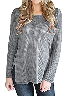 GTealife Women Side Slit Tunic Sweater Casual Crew Neck Long Sleeve Knit Thermal Tops