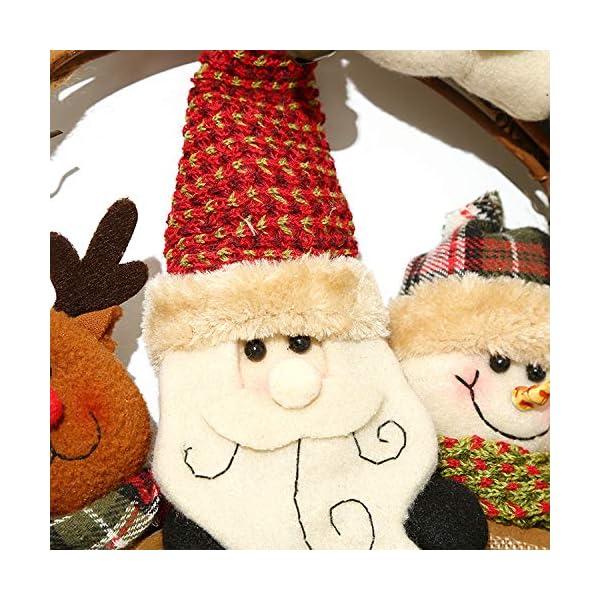 XONOR Corona di Natale per Porta d'ingresso, ghirlande Porta 35cm Natale Decorazione della Porta della casa Porta d'auto (Reindeer Snowman Santa Claus) 2 spesavip