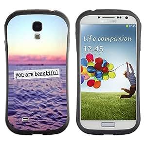 "iFace Series Tpu Silicona Carcasa Funda Case Para SAMSUNG Galaxy S4 IV / i9500 / i9515 / i9505G / SGH-i337 , ( You Are Beautiful Ocean Sunset Sky texto"" )"